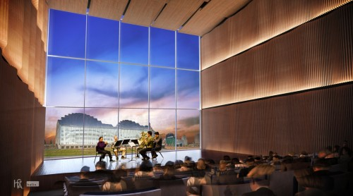 Rendering of the new recital space at the proposed UMKC Downtown Campus for the Arts.