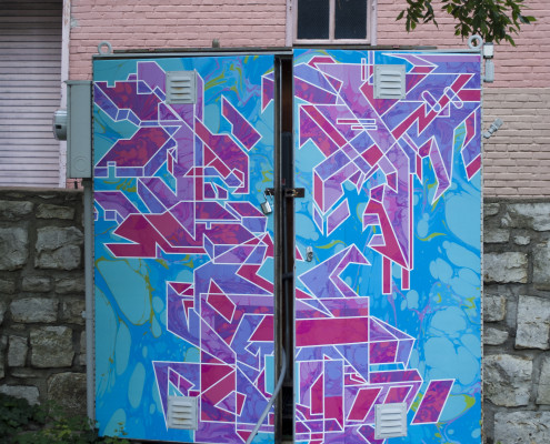 Kevin Perkins and Paige Hinshaw's piece, Neon Camouflage, on the electrical box in Oppenstein Park. Photo by Madison Kludy.